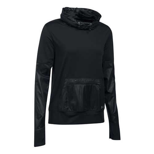 Womens Under Armour No Breaks Hybrid Pullover Hoodie & Sweatshirts Technical Tops - Black SR