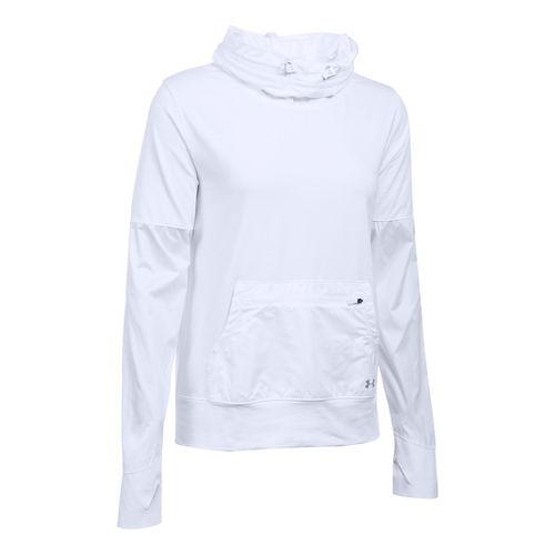 Womens Under Armour No Breaks Hybrid Pullover Hoodie & Sweatshirts Technical Tops - White MR