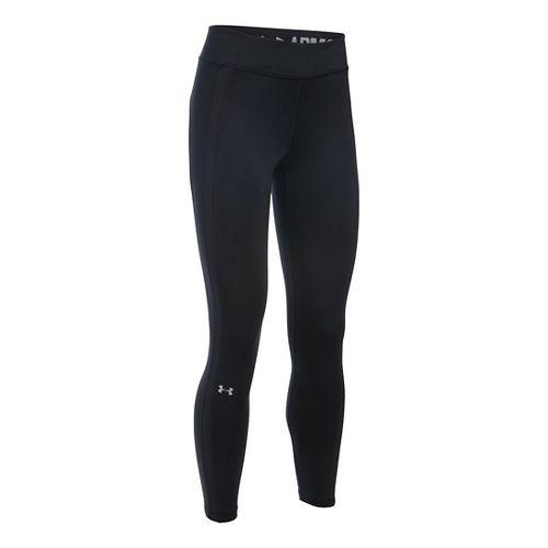 Womens Under Armour ColdGear Ankle Crop Tights & Leggings Pants - Black/Black LR