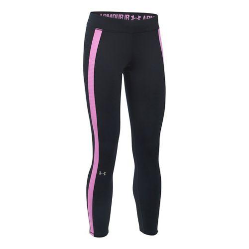 Womens Under Armour ColdGear Ankle Crop Tights & Leggings Pants - Black/Verve Violet SR