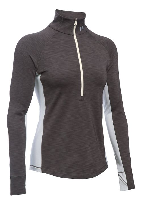 Womens Under Armour ColdGear Armour 1/2 Zip Long Sleeve Technical Tops - Carbon Heather S