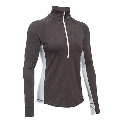 Womens Under Armour ColdGear 1/2 Zip Long Sleeve Technical Tops - Carbon Heather MR