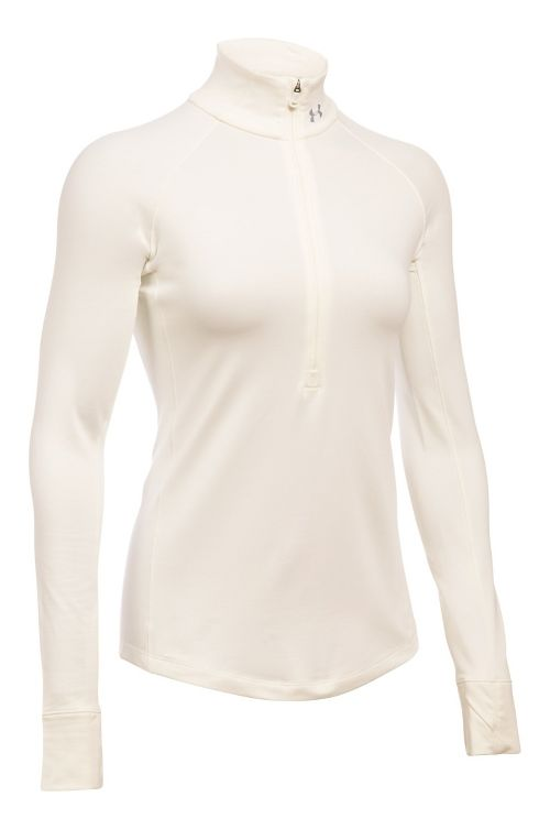 Womens Under Armour ColdGear Armour 1/2 Zip Long Sleeve Technical Tops - Ivory S