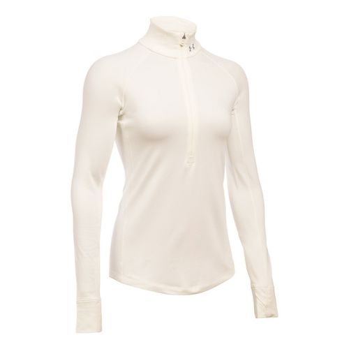 Womens Under Armour ColdGear 1/2 Zip Long Sleeve Technical Tops - Ivory SR