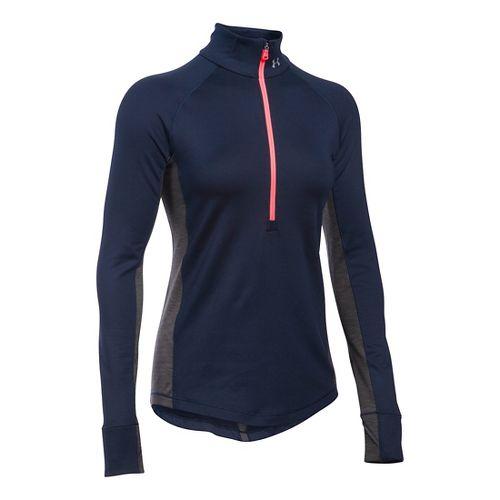 Womens Under Armour ColdGear Armour 1/2 Zip Long Sleeve Technical Tops - Midnight Navy/Carbon M ...