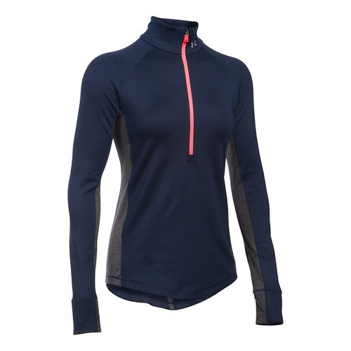 Womens Under Armour ColdGear Armour 1/2 Zip Long Sleeve Technical Tops - Midnight Navy/Carbon S ...