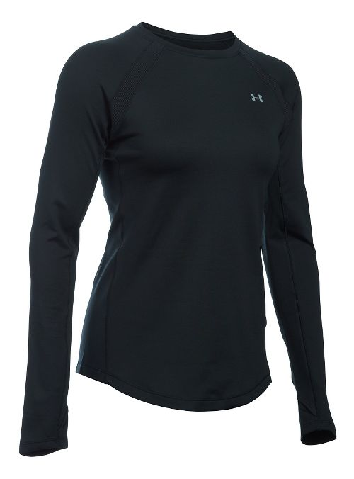 Womens Under Armour ColdGear Armour Crew Long Sleeve Technical Tops - Black L