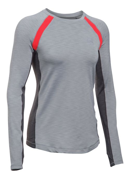 Womens Under Armour ColdGear Armour Crew Long Sleeve Technical Tops - Heather/Pomegranate S