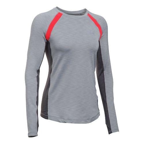 Womens Under Armour ColdGear Armour Crew Long Sleeve Technical Tops - Heather/Pomegranate S