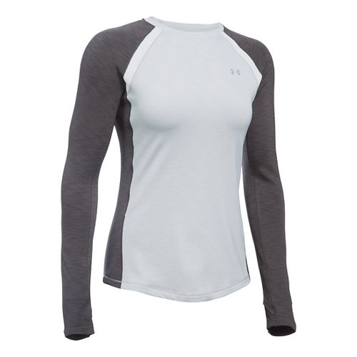 Womens Under Armour ColdGear Crew Long Sleeve Technical Tops - Grey Heather/Carbon XSR