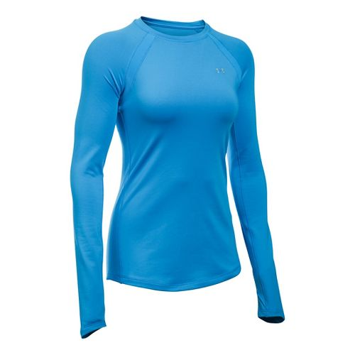 Womens Under Armour ColdGear Armour Crew Long Sleeve Technical Tops - Water XXL