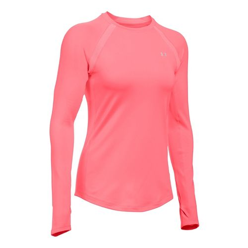 Womens Under Armour ColdGear Armour Crew Long Sleeve Technical Tops - Brilliance L