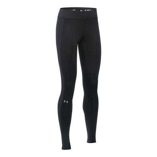 Womens Under Armour ColdGear Armour Tights & Leggings Pants - Black/Carbon XS