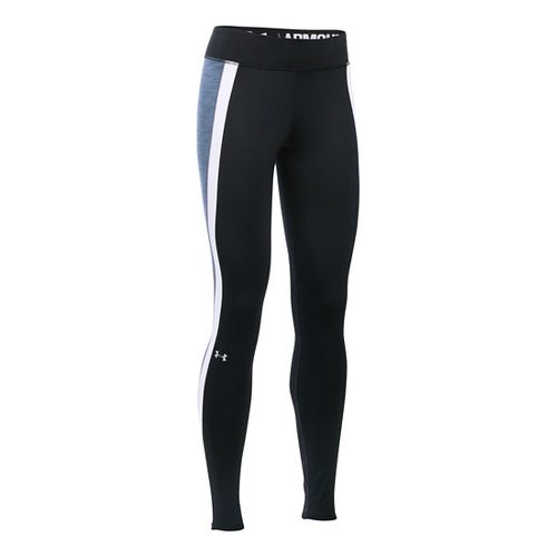 Womens Under Armour ColdGear Armour Tights & Leggings Pants - Black/Aurora Purple XL-S