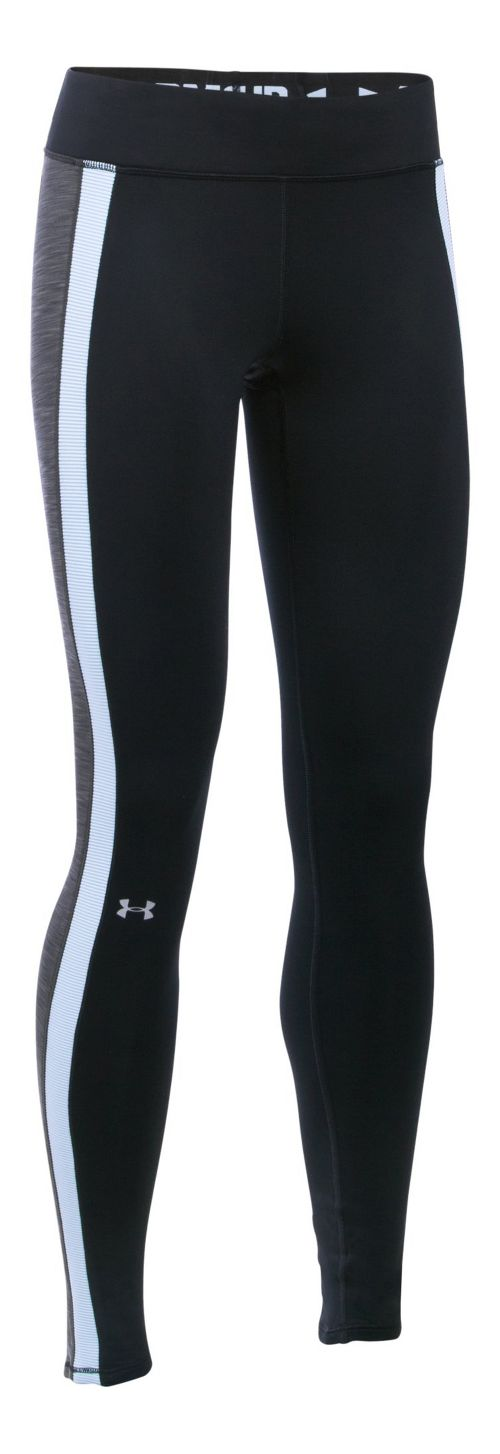 Womens Under Armour ColdGear Armour Tights & Leggings Pants - Black/Carbon Heather XS