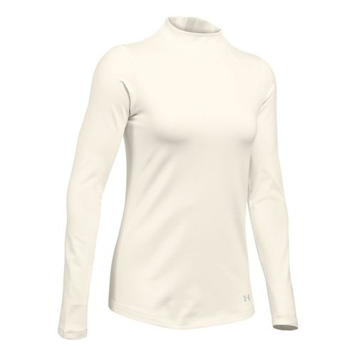 Womens Under Armour ColdGear Mock Long Sleeve Technical Tops - Ivory/Glacier Grey LR