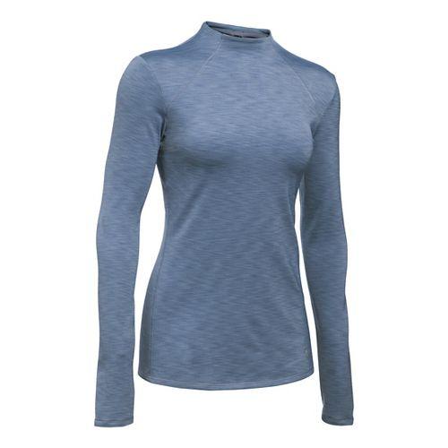 Womens Under Armour ColdGear Mock Long Sleeve Technical Tops - Aurora Purple/Black MR