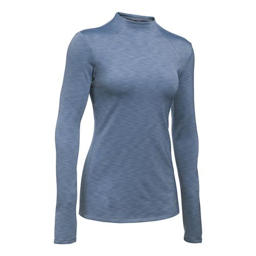 Womens Under Armour ColdGear Mock Long Sleeve Technical Tops - Aurora Purple/Black XSR