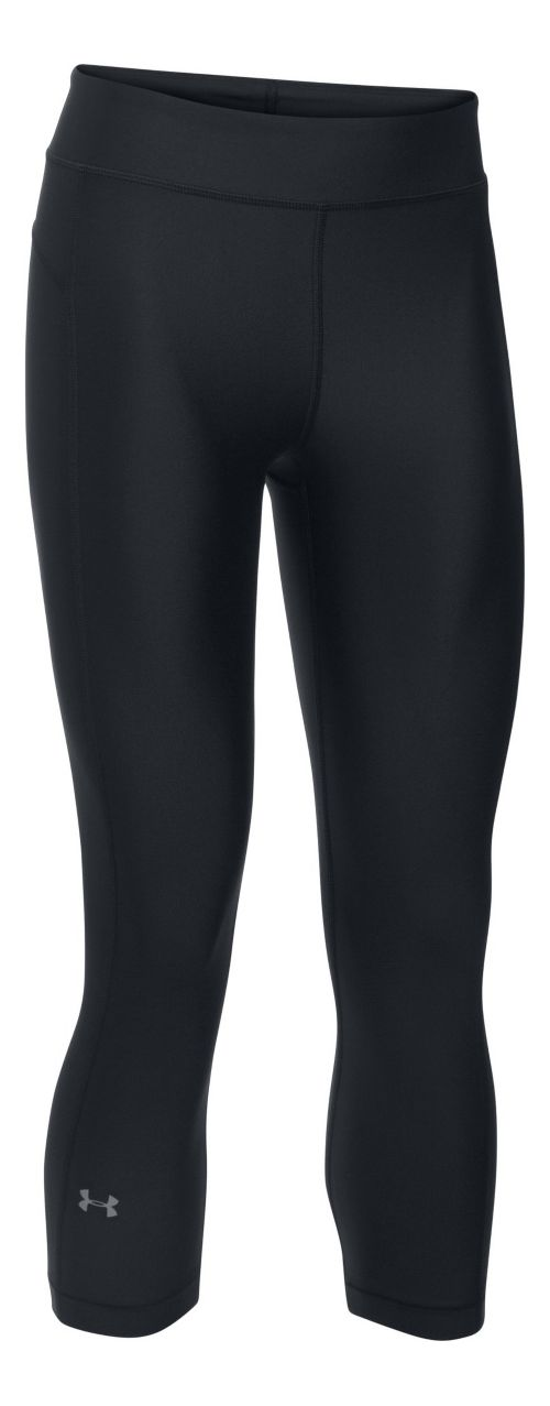 Womens Under Armour HeatGear Capris Pants - Black XXLR