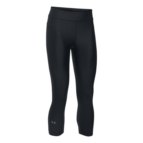 Womens Under Armour HeatGear Capris Pants - Black XLR