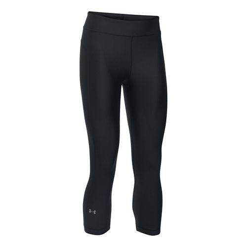 Womens Under Armour HeatGear Capris Pants - Black XSR