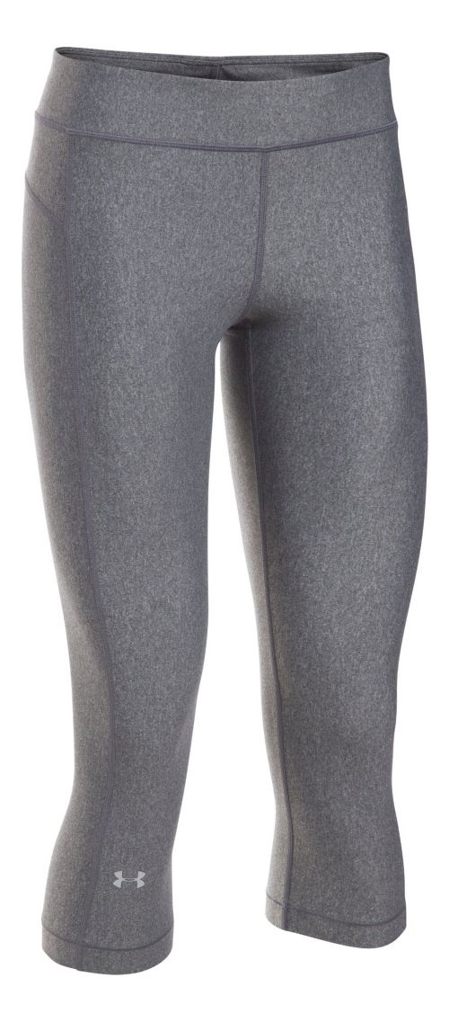 Womens Under Armour HeatGear Capris Pants - Carbon Heather XLR