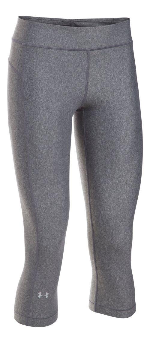 Womens Under Armour HeatGear Capris Pants - Carbon Heather XSR