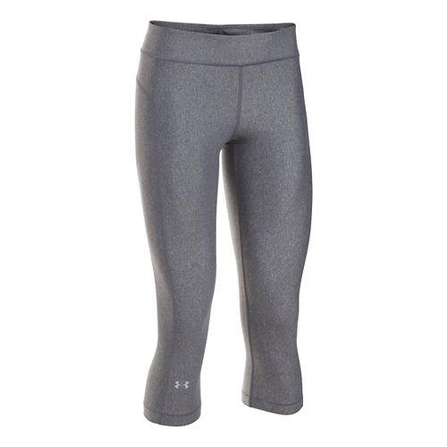 Womens Under Armour HeatGear Capris Pants - Carbon Heather SR