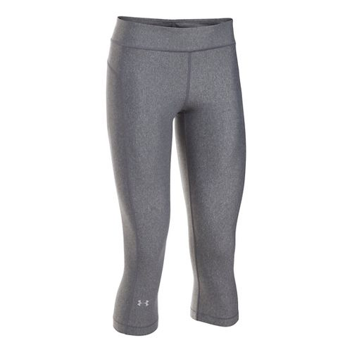 Womens Under Armour HeatGear Capris Pants - Carbon Heather XSR
