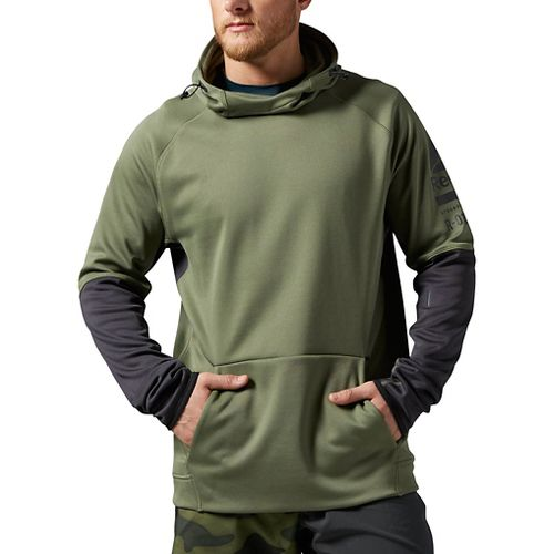 Mens Reebok ONE Series Delta OTH Half-Zips & Hoodies Technical Tops - Canopy Green M ...