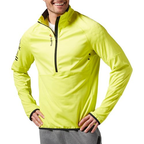Mens Reebok One Series Hex Thermal SpeedWick 1/4 Zip Long Sleeve Technical Tops - Yellow ...
