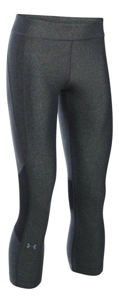Womens Under Armour HeatGear Crop Capris Pants - Carbon/Carbon LR