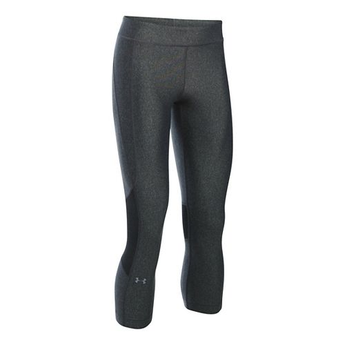 Womens Under Armour HeatGear Crop Capris Pants - Carbon/Carbon XLR