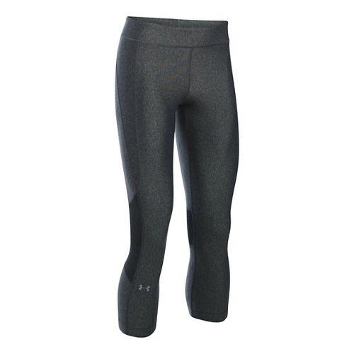 Womens Under Armour HeatGear Crop Capris Pants - Carbon/Carbon XSR