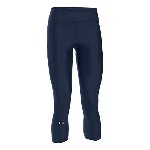 Womens Under Armour HeatGear Crop Capris Pants - Navy/Navy XSR