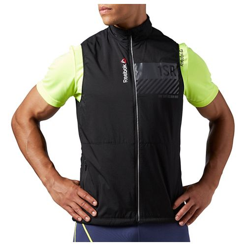 Mens Reebok One Series Running Lightweight Warmth Vests Jackets - Black L
