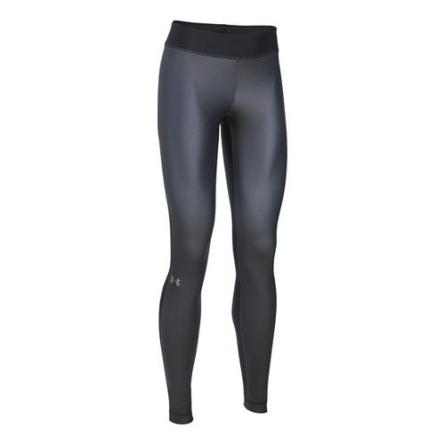 Womens Under Armour HeatGear Engineered Tights & Leggings Pants - Black/Stealth Grey MR