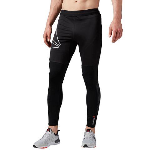 Mens Reebok One Series Running Winter Tights & Leggings Pants - Black XL