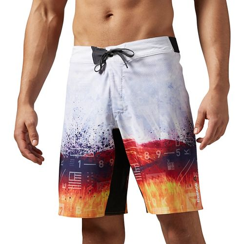 Mens Reebok One Series Sublimated Print Unlined Shorts - White XL