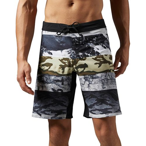 Mens Reebok One Series Winter Camo Sublimated Unlined Shorts - Coal XL