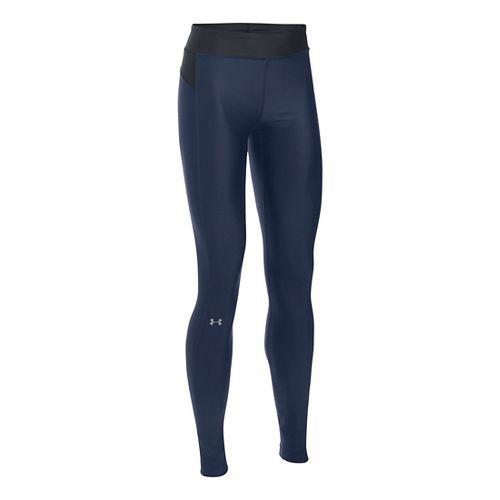 Womens Under Armour HeatGear Tights & Leggings Pants - Midnight Navy/Black LR