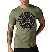 Mens Reebok Bumper Plate Graphic Tee Short Sleeve Technical Tops
