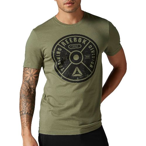 Mens Reebok Bumper Plate Graphic Tee Short Sleeve Technical Tops - Canopy Green S