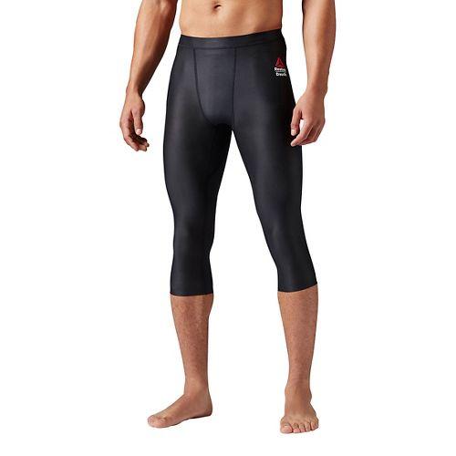 Mens Reebok Crossfit 3/4 Compression Tight Capris Pants - Black XS