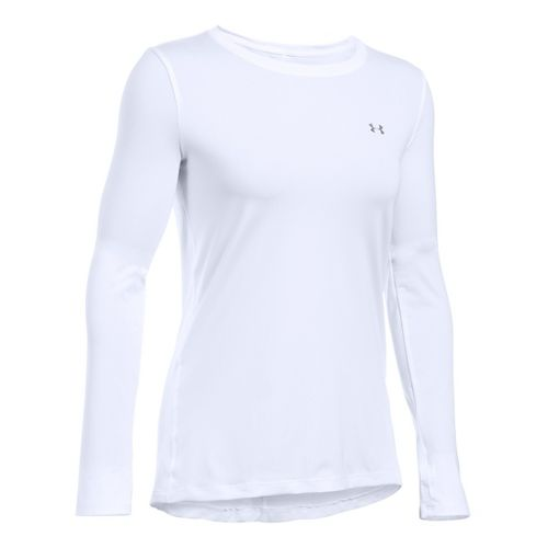 Womens Under Armour HeatGear Long Sleeve Technical Tops - White XS