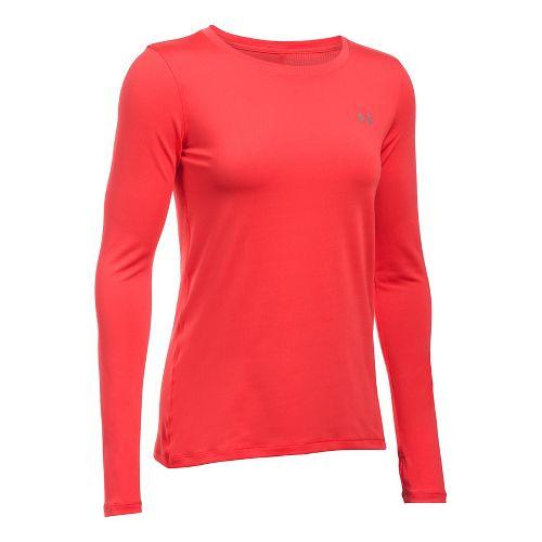 Womens Under Armour HeatGear Long Sleeve Technical Tops - Pomegranate L
