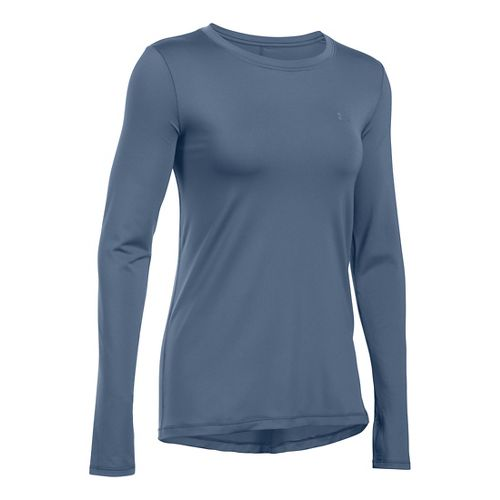 Womens Under Armour HeatGear Long Sleeve Technical Tops - Aurora Purple M
