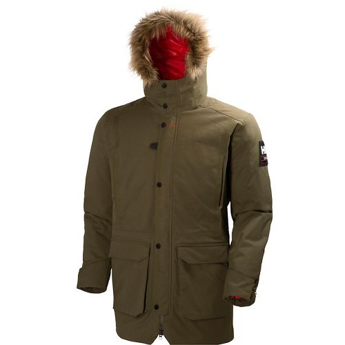 Mens Helly Hansen Norse Parka Cold Weather Jackets - Olive Night L