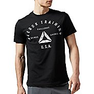 Mens Reebok Stamp Graphic Tee Short Sleeve Technical Tops