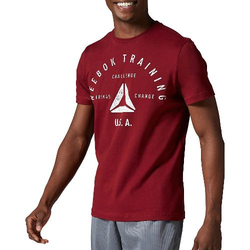 Mens Reebok Stamp Graphic Tee Short Sleeve Technical Tops - Merlot M